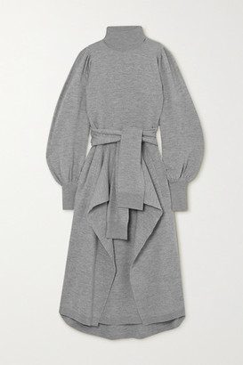 Ulla Johnson Astrid Belted Draped Merino Wool Midi Dress - Light gray