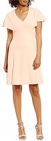 Calvin Klein Petite Ruffle-Sleeve Crepe A-Line Dress