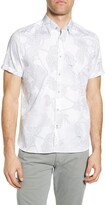 Ted Baker Downdog Slim Fit Stretch Short Sleeve Button-Up Shirt
