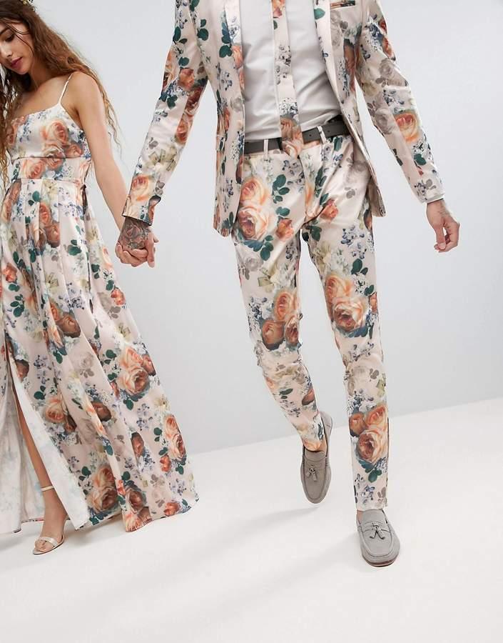 Asos Design Wedding Super Skinny Suit Pants In Champagne Floral