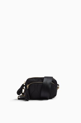 Topshop Black Micro Quilted Nylon Cross Body Bag