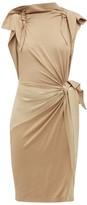 Burberry Draped Knotted Stretch-silk Dress - Womens - Beige