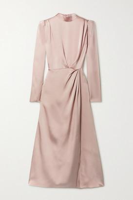 Anine Bing - Kim Open-back Draped Silk-satin Midi Dress - Blush