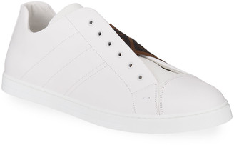 Fendi Men's Laceless Leather FF-Strap Sneakers
