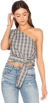 MinkPink One Shoulder Tie Check Top