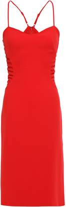 Halston Mesh-paneled Crepe Dress