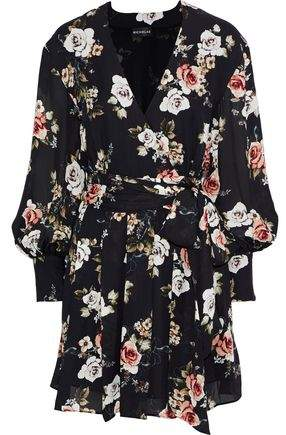Nicholas Black Rose Wrap-effect Floral-print Silk-georgette Mini Dress