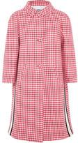 Prada Paneled Houndstooth Wool Coat - Pink