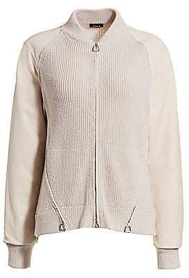 Akris Women's Mixed-Media Cashmere & Leather Bomber