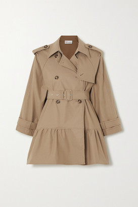 RED Valentino Belted Tiered Gabardine Trench Coat - Tan