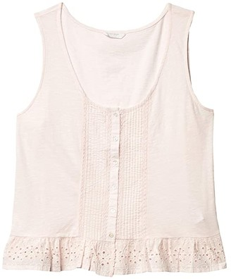 Lucky Brand Eyelet Peplum Tank (Blushing Bride) Women's Clothing