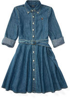 Ralph Lauren 7-16 Denim Fit-And-Flare Shirtdress