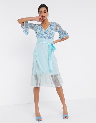 Frock and Frill fluted sleeve embellished midi dress in blue