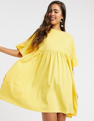 ASOS DESIGN oversized frill sleeve smock in yellow