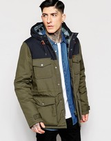 Element Hemlock Parka With Colour Block & Flannel Lining - Green
