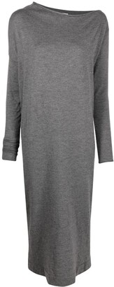 Brunello Cucinelli Asymmetric-Neck Knitted Dress