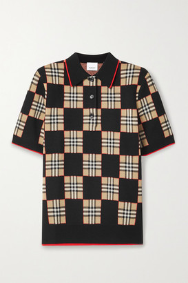 Burberry Checked Merino Wool-blend Jacquard Polo Shirt - Black