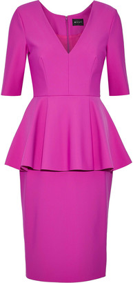 Milly Lola Pleated Cady Peplum Dress