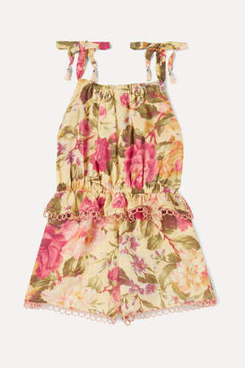 Zimmermann Kids - Honour Ruffled Floral-print Cotton-voile Playsuit - Yellow