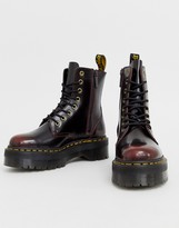 Dr. Martens Jadon chunky leather ankle boots in cherry