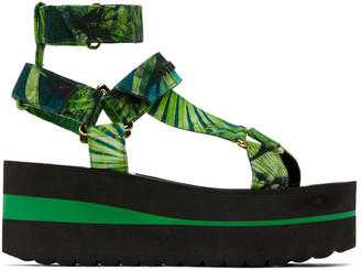 Versace Green Jungle Print Platform Sandals
