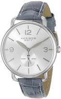 Akribos XXIV Women's AK658GY Essential Stainless Steel Watch with Grey Leather Strap