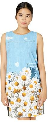 Boutique Moschino Printed Shift Dress (Light Blue Multi) Women's Clothing