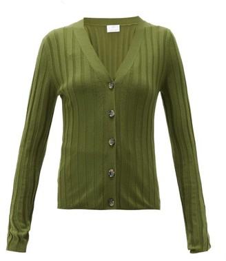 Allude V-neck Wide-rib Merino-wool Cardigan - Womens - Khaki
