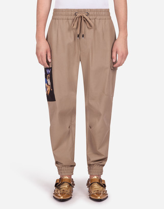 Dolce & Gabbana Cotton Stretch Cargo Pants With Patch