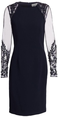 Teri Jon By Rickie Freeman Illusion-Sleeve Sheath Dress