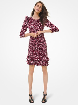 Michael Kors Leopard Satin Jacquard Ruched Ruffle Dress