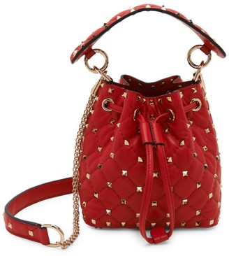 Valentino Mini Rockstud Spike Leather Bucket Bag