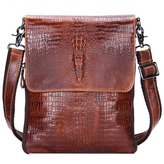 Contacts Genuine Leather Handmade Crossbody Messenger Bags For Men Crocodile Embossed Small Business Shoulder Bag
