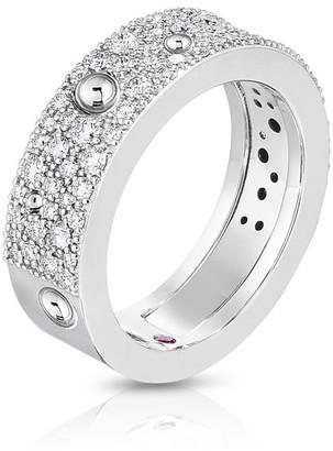 Roberto Coin Pois Moi 18k White Gold Diamond Band Ring, Size 6.5