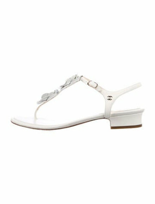 Chanel Camellia Accent Leather T-Strap Sandals White