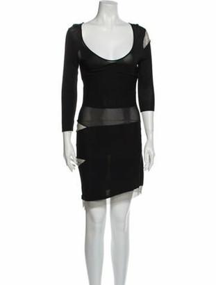 Balmain Scoop Neck Knee-Length Dress Black