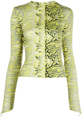 MAISIE WILEN Abstract-Print Long-Sleeved Top