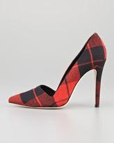 Alice + Olivia Dina Plaid Point-Toe Pump, Red Multi (Stylist Pick!)