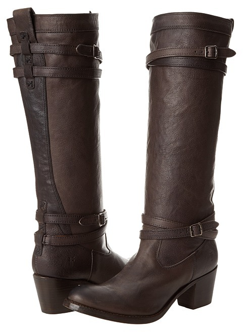 Frye Jane Strappy (Black Tumbled Full Grain) - Footwear