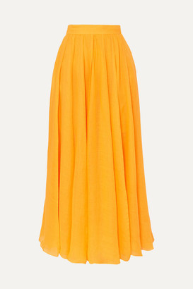 Three Graces London Arlene Pleated Ramie Maxi Skirt - Saffron