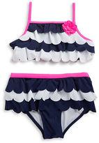 Flapdoodles Girls 7-16 Girls Scallop Tiered Bikini Set