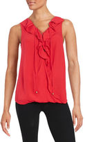 Ella Moss Ruffle Front Lace-Up Top