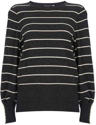 Mint Velvet Striped Balloon Sleeve Jumper