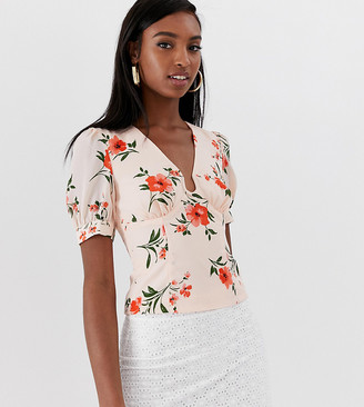 Fashion Union Tall top with ring front detail in floral-Pink