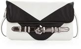 Oryany Athena Chevron Clutch, White/Black