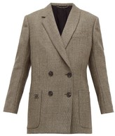 Fendi Double-breasted Bow-back Houndstooth Wool Jacket - Womens - Grey Multi