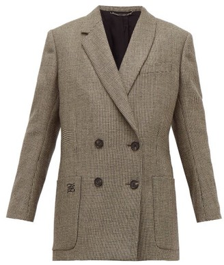 Fendi Double-breasted Bow-back Houndstooth Wool Jacket - Grey Multi