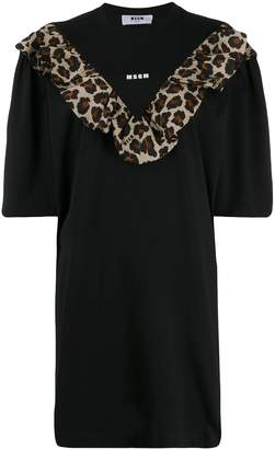 MSGM leopard print ruffled T-shirt dress