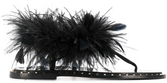 Valentino suede sandals with feather embellishments
