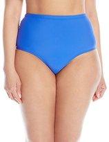Athena Women's Plus-Size Solid Mid Waist Side Bikini Bottom
